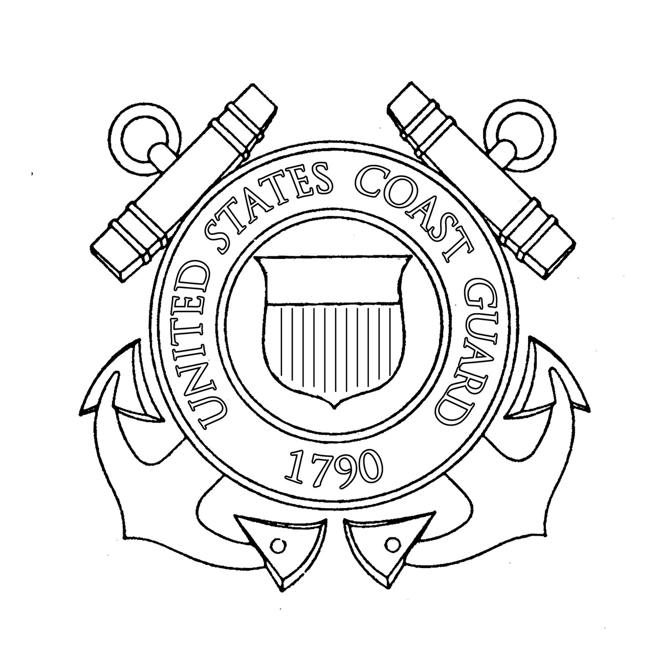 Coast Guard Preprinted Wholecloth 12'' [white]