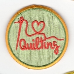 Quilt Patches 2''- Iron on-Heart Needle